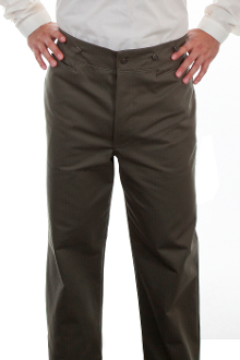 These Mens Scully Army Green Herringbone Gentlemen Cotton Pants are made in the USA. These are the pants you'll want for those special occasions. button fly, two side entry pockets and suspender buttons