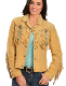 This Scully Womens Golden Tan Turquoise Beaded Western Fringe Jacket has beads, studs, and conchos, this western jacket has style. Made from boar suede with fringe on the front, back and closes with a 5-button front