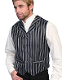 "This Scully Mens Classic Old Time Black Double Pinstripe Lapel Vest is a Sophisticated double pinstripe classy ""old time"" look with notch lapels, covered buttons, two front welt pockets a great wedding vest for men."