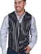 This Scully Mens Sophisticated Double Pinstripe Black western vest is a classy old time look with covered buttons, two front welt pockets and adjustable back strap.100% polyester great wedding vest for men.
