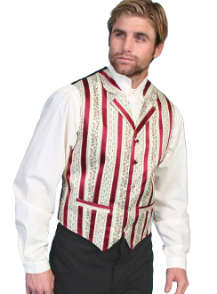 This Scully Mens Burgundy Barber shop classic 1800's Lapel vest has classic wallpaper stripes a bold floral design with notched lapels, two welt pockets, self covered buttons and an adjustable back strap matching vests available.