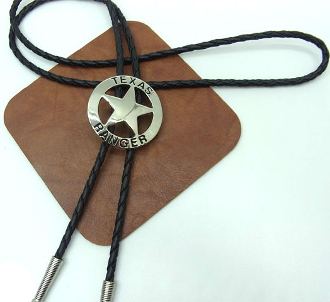 The Texas Ranger Silver Western Bolo Tie is sterling silver plated with the words Texas Ranger on this western star sheriff badge cowboy bolo tie with that real old west design that will dress up any cowboy or cowgirl shirt.