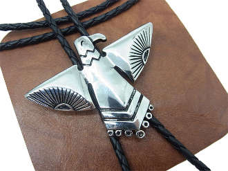 The Silver Western Phoenix Bolo Tie is sterling silver plated with a large southwestern phoenix bird a great native american Indian symbol that will dress up any cowboy or cowgirl shirt.