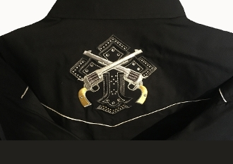 This Mens Studded Cross and Pistols Mens Black western shirt has that old west feel with embroidered back and top yokes with a studded cross and cowboy pistols including white retro piping on this mens black cowboy shirt.