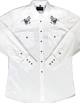 "This Mens ""Black Horse"" White western shirt has detailed embroidered running horse with retro pearl snaps a staple item to have in your closet of cowboy clothes for men."