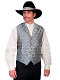 This Scully Mens Grey Paisley Dress Lapel western vest for western weddings or cowboy western dress vest with classic paisley print covered button front and welt pockets with back adjustable strap.