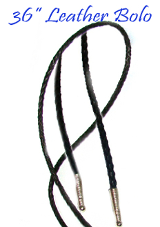 "This 36"" Black leather Bolo tie String made in the USA makes a great replacement string for your existing bolo, hand made in real leather with silver ends."