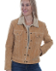 This Scully Womens Tan Suede Western Jean Jacket with Fur Collar is the traditional jean jacket look but made in a soft suede with faux shearling lining and fur covered collar with pearl snaps and 2 chest pockets