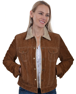 This Scully Womens Cinnamon Suede Western Jean Jacket with Fur Collar is the traditional jean jacket look but made in a soft suede with faux shearling lining and fur covered collar with pearl snaps and 2 chest pockets