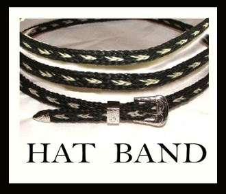 This Sterling Silver Black Horse hair hat band is hand made in the USA with genuine horse hair with a sterling silver belt buckle closure a great western hat band for cowboys or cowgirls.