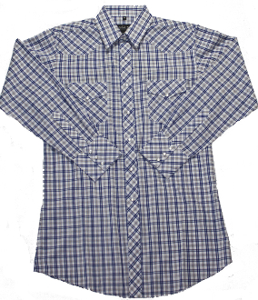 This Mens Blue Tan Plaid Pearl Snap Western Shirt is a classic cowboy country comfortable western shirt with western yokes and easy pearl snaps for a country fair or everyday wear.