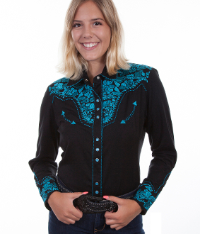This Womens Black Longsleeve Turquoise Embroidered Western Shirt is a popular matching western shirt for his and hers embroidered floral front & back yokes retro piping smiley pockets matching pearl snaps.
