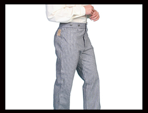 The Wild Cowboy carries mens old west style frontier pants with the vintage cut made of canvas or denim as well as 1800's dress pants.. The frontier pants will have suspender buttons and watch pockets.