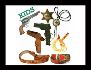 Largest selection of the Best kids Western toys for boys and girls with genuine leather Child belts, silver buckles and cast iron toy guns. Quality Leather kids western belts and gun holsters.