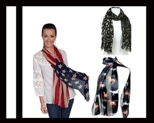 Western Long Scarves in assorted cowgirl or cowboy designs and american flag designs such as stars and stripes made for cowgirls or cowboys.