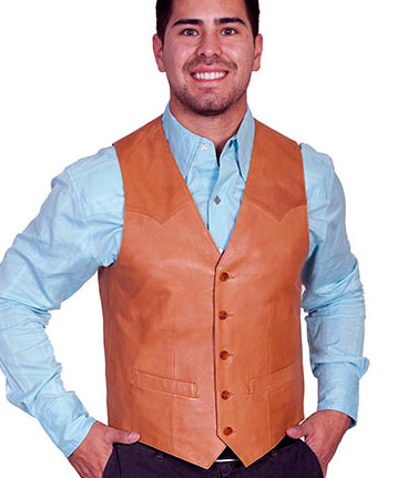 This Mens Scully Lambskin Leather Traditional Ranch Tan Western Vest has a 5 button front and 2 front pocket with single point western yokes & an inner pocket with soft Acetate lining, a true cowboy vest for men.