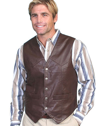 This Mens Scully Brown Lambskin Snap Front Classic Western Vest has 5 western star silver snaps in front with 2 frontal pockets all in a vintage cowboy look with soft touch leather and inner lining.