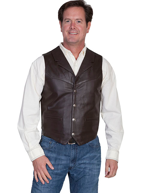 This Mens Scully Brown Lambskin Buffalo Snap Front Western Vest has 4 buffalo nickel snaps in front with 2 frontal pockets all in a vintage cowboy look with soft touch leather and inner lining.