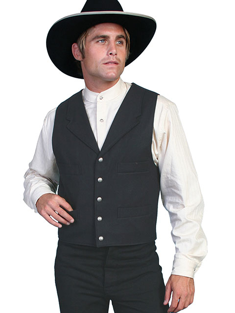 This Mens Scully Old Frontier Black Wool Town Vest is a fashionable look of 100% wool and is the perfect addition to your old west outfit. It has notched lapels, four welt pockets and an adjustable back strap. 100% wool