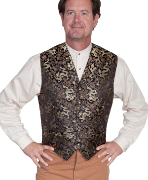 This Scully Mens Notched Lapel Gold Dragon Brown Silk Vest is made in the USA with notched lapels and welt pockets with an adjustable back strap perfect for formal western occasions or mens wedding vest.