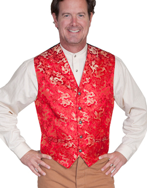 This Scully Mens Notched Lapel Gold Dragon Red Silk Vest is made in the USA with notched lapels and welt pockets with an adjustable back strap perfect for formal western occasions or mens wedding vest.