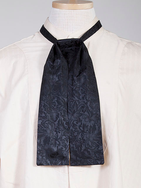 The Scully Black jacquard silk Puff Tie is a classic old frontier or old west look to it made with quality material in the USA with matching vests available.