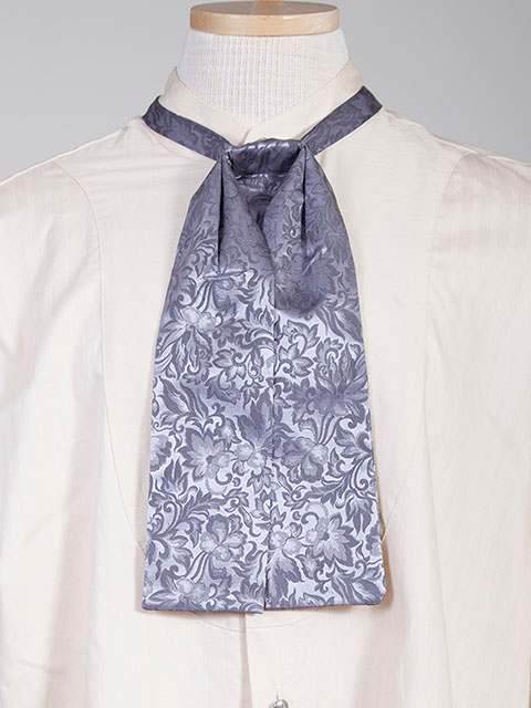 The Scully Blue jacquard silk Puff Tie is a classic old frontier or old west look to it made with quality material in the USA with matching vests available.