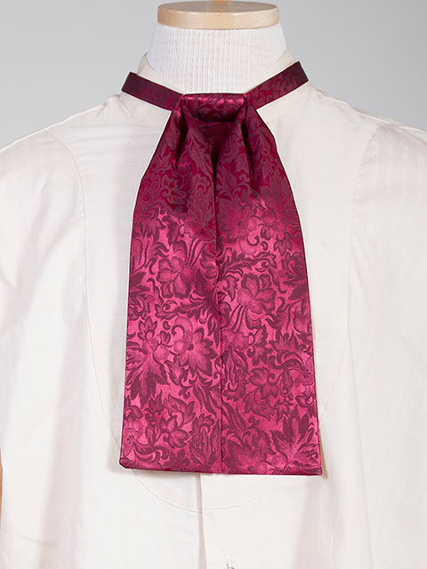 The Scully Burgundy jacquard silk Puff Tie is a classic old frontier or old west look to it made with quality material in the USA with matching vests available.