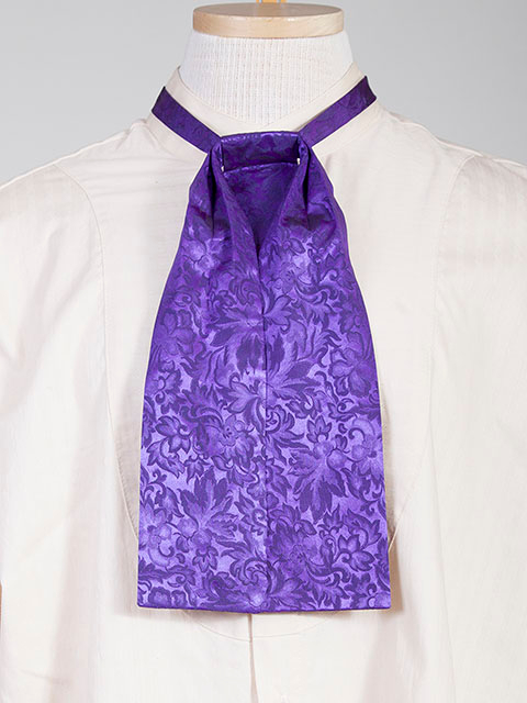 The Scully Purple jacquard silk Puff Tie is a classic old frontier or old west look to it made with quality material in the USA with matching vests available.