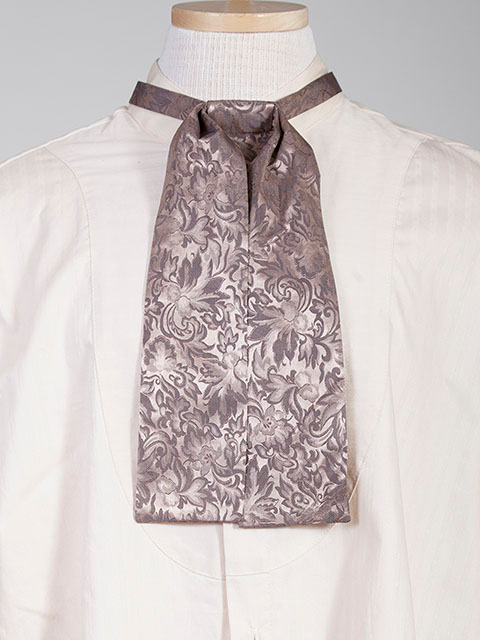 The Scully Taupe jacquard silk Puff Tie is a classic old frontier or old west look to it made with quality material in the USA with matching vests available.