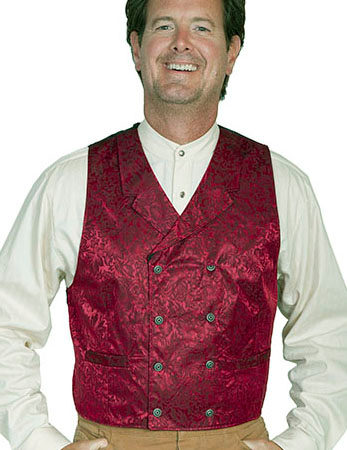 This Scully Mens USA Made Red Paisley Double Breasted Silk Vest is 100% silk vest for men that is perfect for a steampunk wedding or event with classic notched lapels, 2 front pockets and stamped metal buttons
