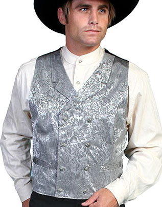 This Scully Mens USA Made Grey Paisley Double Breasted Silk Vest is 100% silk vest for men that is perfect for a steampunk wedding or event with classic notched lapels, 2 front pockets and stamped metal buttons