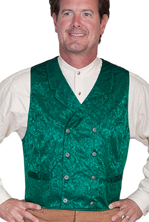 This Scully Mens USA Made Green Paisley Double Breasted Silk Vest is 100% silk vest for men that is perfect for a steampunk wedding or event with classic notched lapels, 2 front pockets and stamped metal buttons
