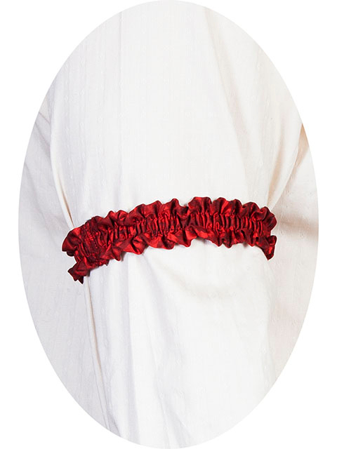 This pair of Scully Wahmaker red Sleeve Garters are made in the USA a perfect gambler style wedding Armband for your shirt sleeve that matches the 19th century old frontier paisley mens vests