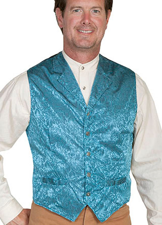 This Scully Mens USA Made Turquoise Aqua Silk Lapel Western Vest is a classic 1800's old west frontier look for men in beautiful paisley silk with authentic pewter buttons for a retro vintage cowboy vest worn at any ranch style wedding.