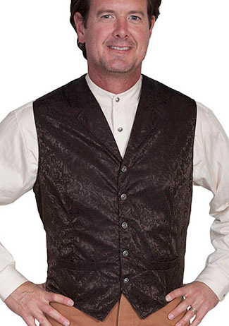 This Scully Mens USA Made dark brown Silk Lapel Western Vest is a classic 1800's old west frontier look for men in beautiful paisley silk with authentic pewter buttons for a retro vintage cowboy vest worn at any ranch style wedding.