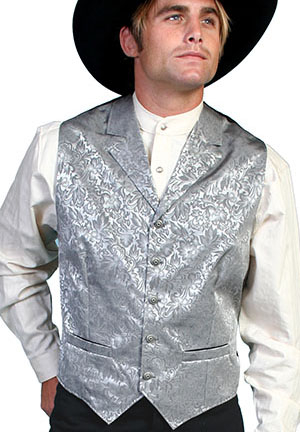 This Scully Mens USA Made gray Silk Lapel Western Vest is a classic 1800's old west frontier look for men in beautiful paisley silk with authentic pewter buttons for a retro vintage cowboy vest worn at any ranch style wedding.
