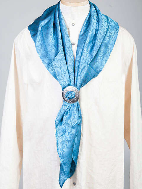 "This Authentic silk jacquard aqua scarf was made in the USA. It is 40""x 40"" and goes perfect with your old west attire. This gentlemens jacquared scarf wild rag is made of fine quality China Silk in the USA"