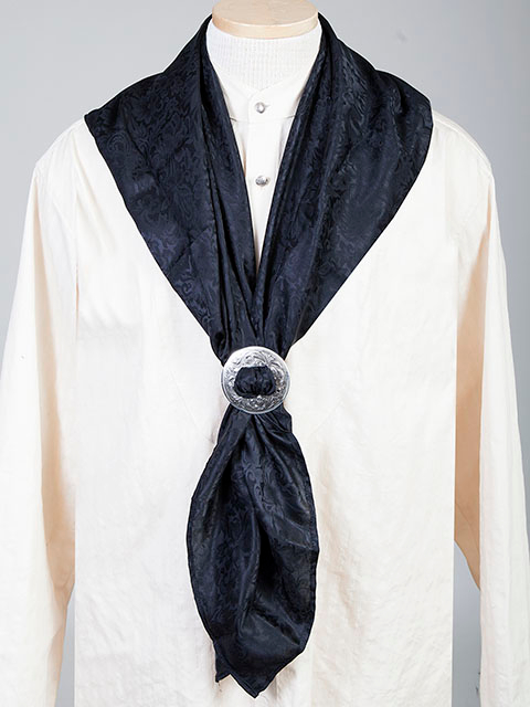 "This Authentic silk jacquard black scarf was made in the USA. It is 40""x 40"" and goes perfect with your old west attire. This gentlemens jacquared scarf wild rag is made of fine quality China Silk in the USA"