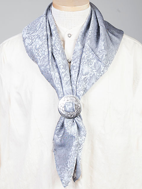 "This Authentic silk jacquard blue scarf was made in the USA. It is 40""x 40"" and goes perfect with your old west attire. This gentlemens jacquared scarf wild rag is made of fine quality China Silk in the USA"