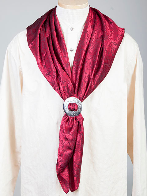 "This Authentic silk jacquard Burgundy scarf was made in the USA. It is 40""x 40"" and goes perfect with your old west attire. This gentlemens jacquared scarf is made of fine quality China Silk in the USA"