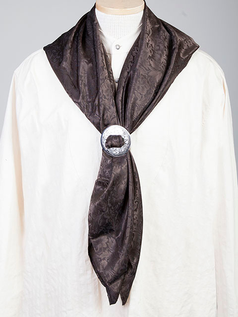 "This Authentic silk jacquard Brown scarf was made in the USA. It is 40""x 40"" and goes perfect with your old west attire. This gentlemens jacquared scarf wild rag is made of fine quality China Silk in the USA"