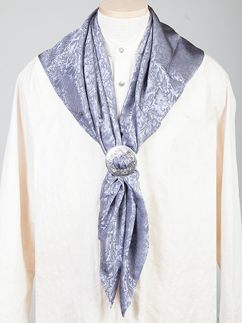 "This Authentic silk jacquard Grey scarf was made in the USA. It is 40""x 40"" and goes perfect with your old west attire. This gentlemens jacquared scarf wild rag is made of fine quality China Silk in the USA"