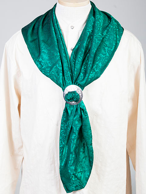 "This Authentic silk jacquard Green scarf was made in the USA. It is 40""x 40"" and goes perfect with your old west attire. This gentlemens jacquared scarf is made of fine quality China Silk in the USA"