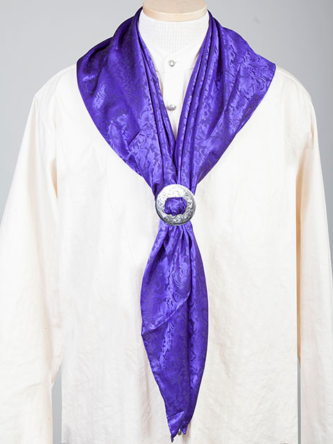 "This Authentic silk jacquard Purple scarf was made in the USA. It is 40""x 40"" and goes perfect with your old west attire. This gentlemens jacquared scarf is made of fine quality China Silk in the USA"