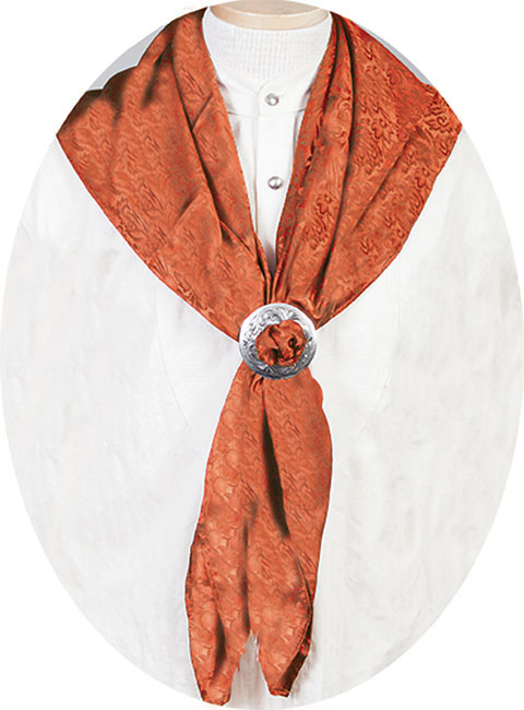 "This Authentic silk jacquard Rust scarf was made in the USA. It is 40""x 40"" and goes perfect with your old west attire. This gentlemens jacquard scarf wild rag is made of fine quality China Silk in the USA"