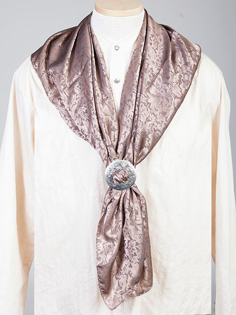 "This Authentic silk jacquard Taupe scarf was made in the USA. It is 40""x 40"" and goes perfect with your old west attire. This gentlemens jacquard scarf wild rag is made of fine quality China Silk in the USA"