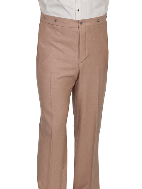 This Mens Scully 1800's Tan Gentlemen Pants are made in the USA. These are the pants you'll want for those special occasions. They feature a button fly, two side entry pockets and suspender buttons.