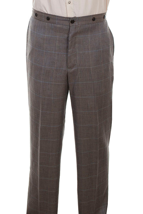 these mens Scully Tan Plaid Multi Color Wool Gentlemen Pants are made in the USA. These are the pants you'll want for those special occasions. They feature a button fly, two side entry pockets and suspender buttons.