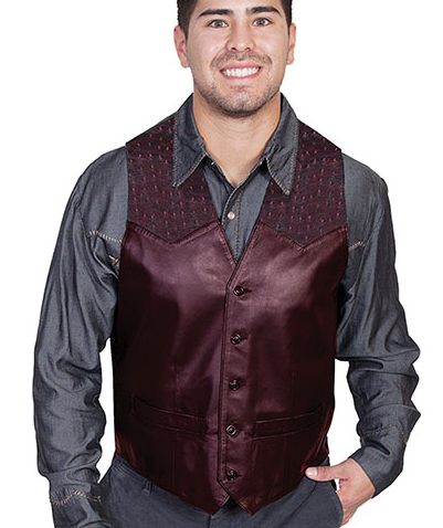 This Mens Scully Black Cherry lambskin leather Ostrich Western Vest is assembled in the USA with a contrasting real ostrich leather yoke with five button front closure with two front pockets and one inside pocket completely lined.